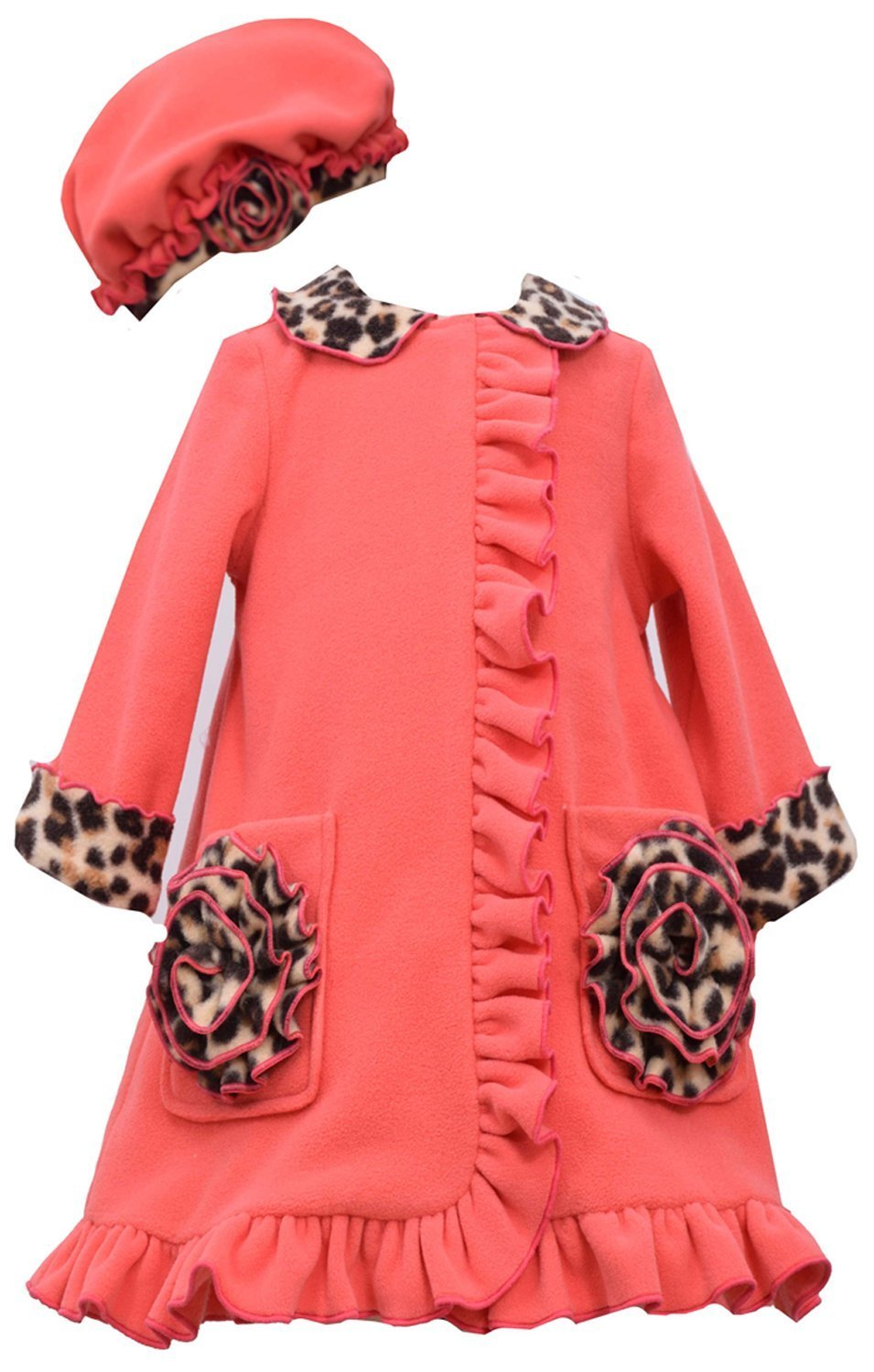 Bonnie Jean Little Girls 4-6X Coral Bonaz Rosette Pocket Fleece Coat/Hat Set