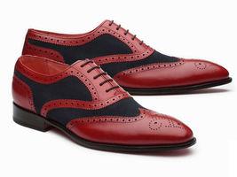 Handmade Men Wing Tip Heart Medallion Dress/Formal Leather & Suede Oxford Shoes image 4