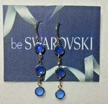 Vintage Swarovski Elements 10K Gold Plate Dangle Earrings Blue Crystal S... - $12.00