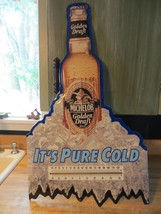 Golden Draft Michelob bottle of beer on ice sign & thermometer advertising 1992 - $118.75
