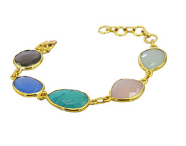 exquisite Multi Gemstone Gold Plated Multi Bracelet Natural gemstones US gift - $18.80
