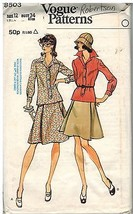 8503 Vintage Vogue Nähmuster Misses Zwei Stücke Kleid Top Rock 600ms 12 - $5.18