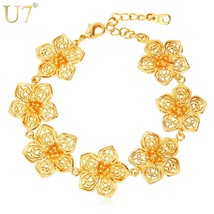 U7 Big Flower Gold Color Bracelet For Women Gift  Trendy Indian Jewelry Wholesal - $17.06