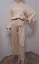 Vintage Jumpsuit Cream Jersey Knit Button Front LS Stretch Tassel Tie L - $359.99
