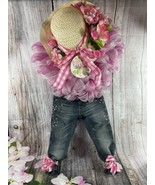 Handmade Cute Spring Summer Hat & Jeans Floral Door Decoration - $28.05