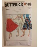 Butterick Pattern 4212 Women's Size 12 Flared Skirt Western Dance Ruffle... - $8.00