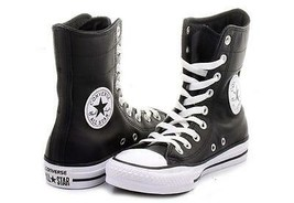 Converse Black Leather Hi-Rise 9-Eye Ankle Calf Boots / Shoes Wms NWOT DISC - $78.99
