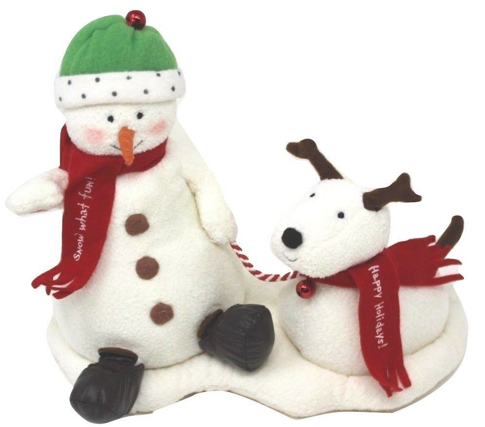 Hallmark Jingle Pals Snowman and Dog 2004 Plush Sound Motion Jingle Bells Xmas - $35.99
