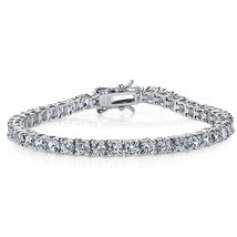 Sterling Silver and Round-Cut Cubic Zirconia Eternity Tennis Bracelet, 1... - $99.95