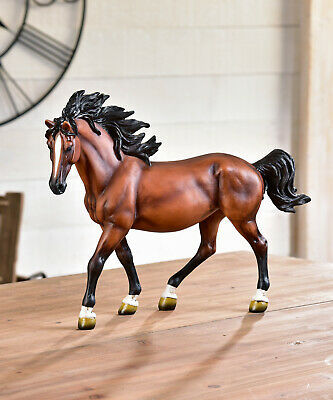 "11"" Standing Horse Figurine with Black Mane & Tail Resin"