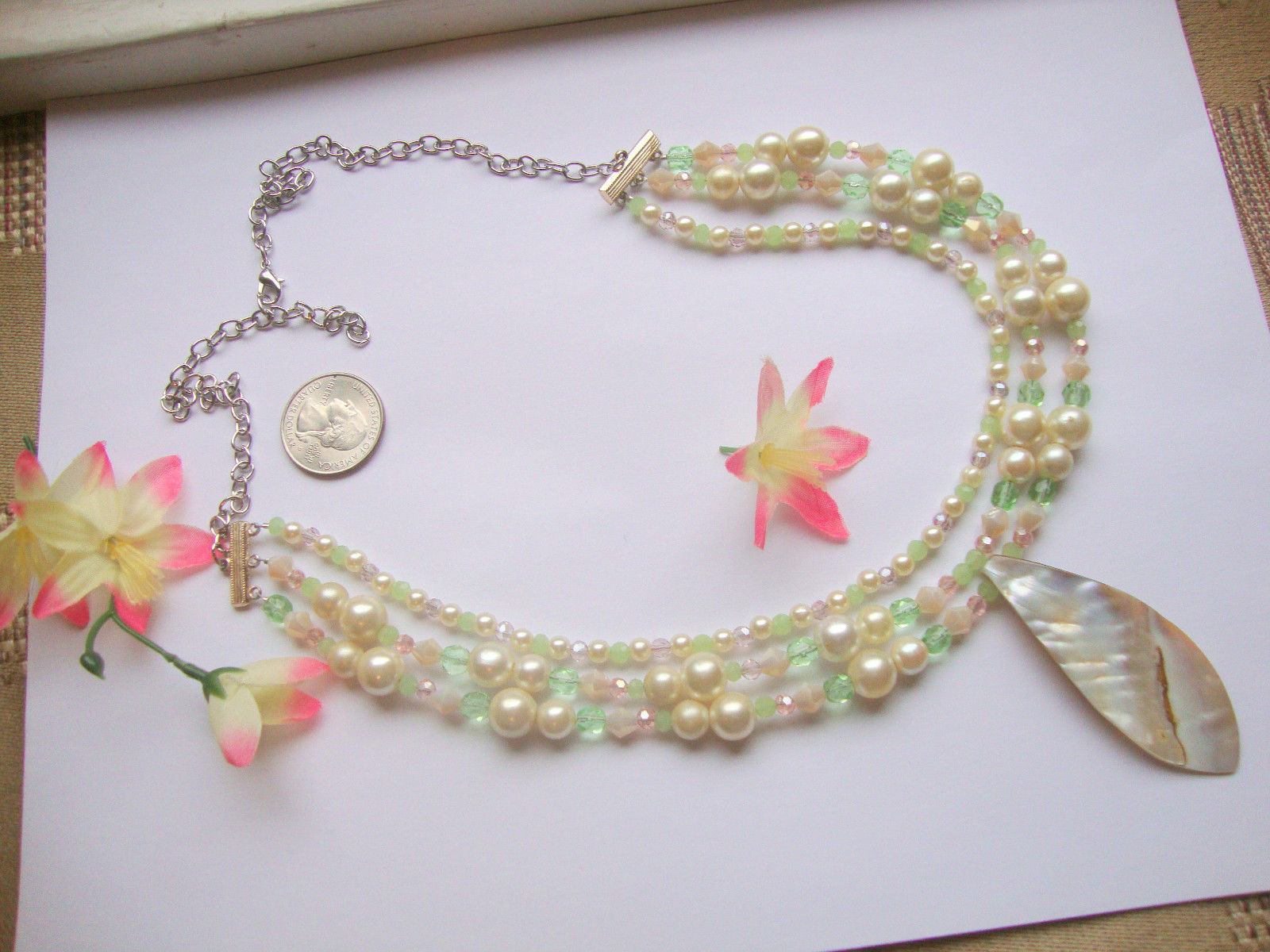 Shell Mother Of Pearl Pink Green Glass Crystal Necklace Beach Boho Tribal Bridal