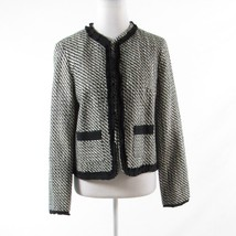 White black houndstooth ISAAC MIZRAHI Live! long sleeve jacket 8 - $39.99