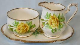 Royal Albert Yellow Tea Rose Open Sugar Creamer Set With Tray - $40.48
