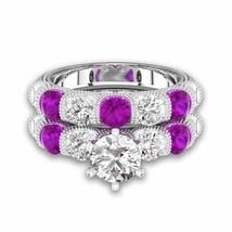 Amethyst & Sim Diamond With Six-prong Bar Setting Bridal Set For Female - $130.00