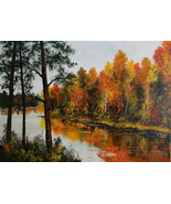 Colorful Autumn Original Oil Painting Landscape Impasto Modern Art Palette Knife - $550.00