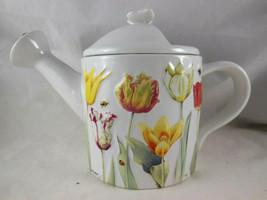 "Hallmark Marjolein Bastin Tea Pot Nature's Sketchbook Tulip Design 6"" ta... - $29.69"