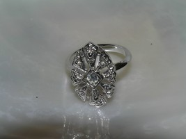 Estate Elegant Raised Silvertone Marquise with Clear Rhinestone Center R... - $13.36