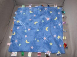 "Vtg Taggies Big Blue Moon Star Fleece Blanket Toy Baby 17"" X 17"" - $39.59"
