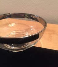 """Vintage 60s MCM Silver Ombre rimmed 4.75"""" small glass bowl image 5"""