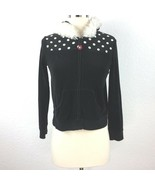 Gymboree Girl Size Large  Black Zip Hoodie With White Ruffle around hoodie - $20.94