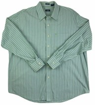 IZOD Mens Shirt X-Large Blue Green Stripe Long Sleeves Button Down 100% ... - $11.87