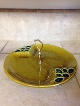 "Rare Jeweled Green California Pottery Handled Serving Tray Dish 12"" USA ... - $46.74"