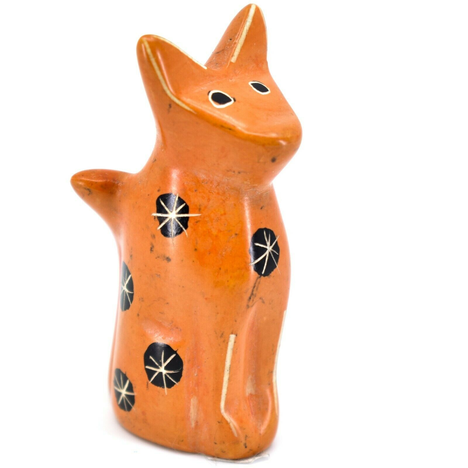 SMOLArt Hand Carved Soapstone Orange Sitting Kitten Cat Figurine Made Kenya