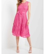Bright Pink Lace Dress, Fit and Flare Pink Dress, Lace Overlay Dress, Ho... - €52,06 EUR