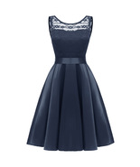Sexy Back Open Navy Blue Lace Short Cocktail Dress A Line Women Party Go... - $28.99