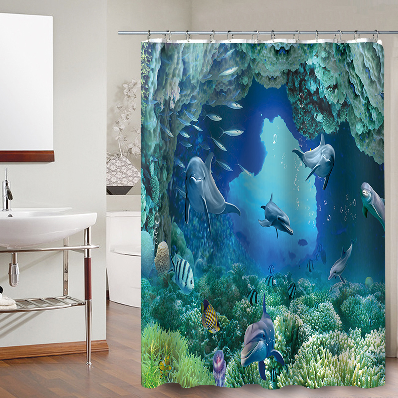 FOKUSENT New Design Colorful Tropical Fish Reefs Polyester Fabric Bathroom Water