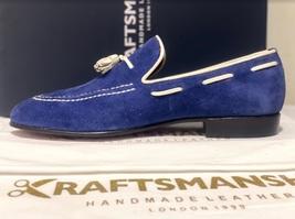 Handmade Men's Blue Suede Slip Ons Loafer Dress/Formal Shoes image 8