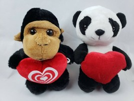 "Dann Dee Collectors Choice Monkey Panda 8"" Plush Heart Lot of 2 Stuffed Animals image 1"