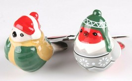 2 Target Wondershop Toymaker Hand Painted Ceramic Bird Ornaments 2018 NWT image 1