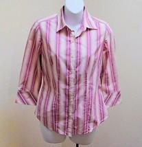 Banana Republic XS 0 2 Top Pink Tan White Button Down 3/4 Sleeve Shirt Career - $19.58