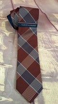 NEW Tommy Hilfiger Mens  Neck Tie Large Shirting Check Brown/Blue - $17.09