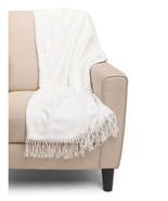 NWT Texteis Penedo White Beige Polka Dot Throw Blanket Fringed 50x70 Por... - $69.29