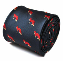 Frederick Thomas Designer Mens Tie - Dark Navy Blue - Embroidered Red Fo... - $16.49