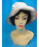 Handmade Crochet Fun Sun Hat Pink Dog Paw Print on Cream - $27.00