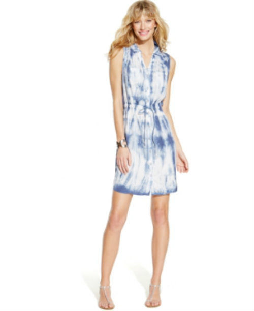 Inc Blue Tie-dye Womens 2 Rhinestone-button Drawstring Shirt Dress