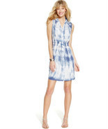 Inc Blue Tie-dye Womens 2 Rhinestone-button Drawstring Shirt Dress - $44.40 CAD