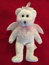 "White 5.5"" Beanie Baby HALO Teddy Bear Angel Ornament - $5.54"