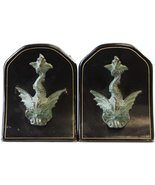 Bronze Dolphin/Black Leather Bookends - $450.00