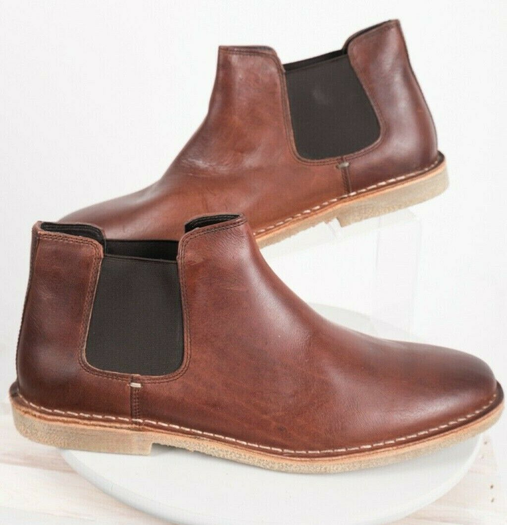 Primary image for Kenneth Cole Reaction Mens Chelsea Boots Sz 12 Brown Leather Pull On Casual