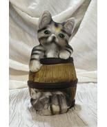 Vintage Cat in a Keg Barrel with Kitten Sleeping at Base, 1998 - $10.00