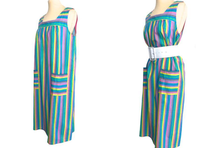 60s/70s French Vintage Candy Pastel Stripe Cotton Sun Dress, Blue, Green, Pink,  image 4