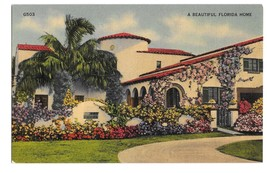 Beautiful Florida Home Photo G W Romer Vintage Linen Postcard - $4.99