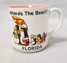 Where's the Beach Coffee Mug: Penguins Family Florida Ceramic Cup, Pink ... - $9.74