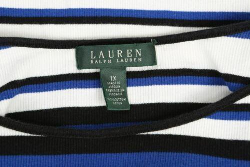 Ralph Lauren Sz 1X Shirt Top Blue Black White Stripes Ribbed