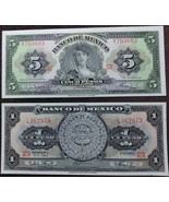 Banco de Mexico Uncirculated Notes:1 Peso Calendario Azteca & 5 Peso Gyp... - $9.95