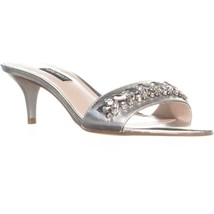 Nine West Lelon Bejeweled Slip On Sandals, Silver, 10 US - $34.55